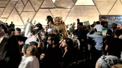 Ceremony of Simhath Torah with Chuppah . Tel Aviv. - stock footage