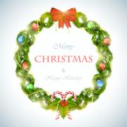 Christmas wreath with greeting vector illustration. - stock illustration