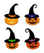 Halloween pumpkin in witches hat vector set illustration, Jack O Lantern isol - stock illustration