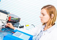 Silicon wafers production, photolithography - stock photo