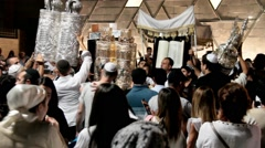 Unidentified jewish people on ceremony of Simhath Torah with Chuppah . Tel Aviv. Stock Footage