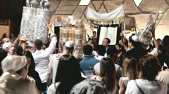 Unidentified jewish people on ceremony of Simhath Torah with Chuppah . Tel Aviv. - stock footage