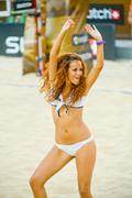 ROME, ITALY - JUNE 18 2011. Beach volleyball world championships. Young cheer Stock Photos