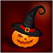 Halloween pumpkin in hat vector illustration, Jack O Lantern on gradient mesh - stock illustration