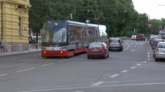 Tram passing on Smetana waterfront in Prague Stock Footage