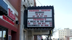 Princess Theater on Whyte Avenue in Edmonton, Alberta Stock Footage