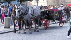 Stock Video Footage of Beautiful red and black carriage on a cobblestone street in Prague