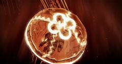 Jellyfish Swimming in 4k Loop (Orange) Stock Footage