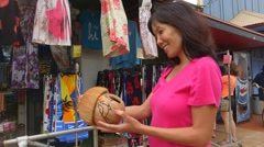 Shopping for Souvenirs in Kauai, Hawaii Stock Footage