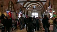 People stroll and shop. Bazaar, Turkey, Edirne Stock Footage
