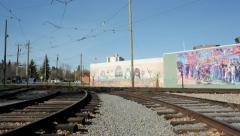 Train tracks and Mural in Old Strathcona, Edmonton, Alberta Stock Footage