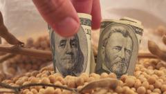 Man taking profit from soybean growth and harvest in USA Stock Footage