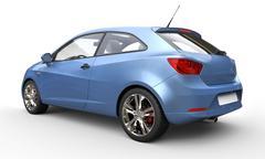 Metallic Blue Compact Car - stock illustration