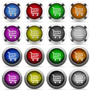 Set of color cart web buttons Stock Illustration