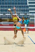 ROME, ITALY - JUNE 16 2011. Beach volleyball world championships. Spanish pla Stock Photos