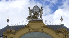 Beautiful statues on top of the Grand Hotel Europa, Prague Stock Footage