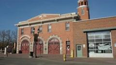 Walterdale Theatre, Firehall no. 1 in Old Strathcona, Edmonton Alberta Stock Footage