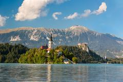 Island at Lake Bled at a sunny day, Slovenia Stock Photos