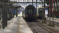 Two trains in Prague main railway station Stock Footage