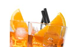 detail of two glasses of spritz aperitif aperol cocktail with orange slices a - stock photo