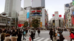 Shibuya Crossing ADS AND LOGOS REMOVED Stock Footage