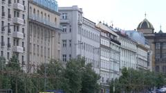 Buildings in Wenceslas Square, next to National Museum, Prague Stock Footage