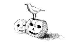 halloween crow  spooky pumpkin - stock illustration