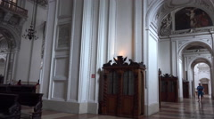 4k Baroque cathedral inside tilt up Salzburg Austria Stock Footage