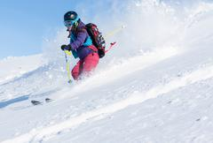 Active winter holidays, skiing and snowboarding Stock Photos