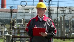 Power engineering specialist at heat station Stock Footage