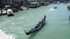 Gondola on the Grand canal in Venice from high angle Stock Footage
