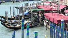 Moored gondolas on the Grand canal in Venice Stock Footage