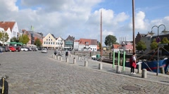 Downtown Husum in Schleswig-Holstein, Germany Stock Footage