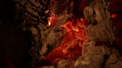 Ascendent pan of the flames in the fireplace Stock Footage