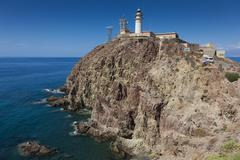 Cabo de Gata Lighthouse, Cabo de Gata-Nijar Natural Park, Almeria, Spain Stock Photos