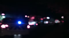Ambulance, Cops and Firetrucks Blurry Lights Panning Background at Night Stock Footage
