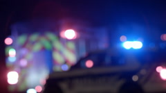 Ambulance, Cops and Firetrucks Blurry Lights Background at Night Stock Footage