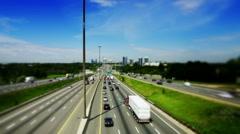 Tilt-Shift of King's Highway 401 near Toronto in Ontario Canada Stock Footage