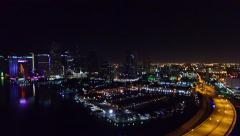 Aerial 4K night Miami downtown Port of Miami brdige bay in Miami Beach, Florida Stock Footage