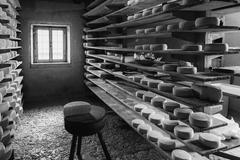 Alpine hut that produces  homemade cheeses. Stock Photos