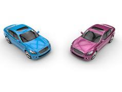 Bright Colored Cars - stock illustration