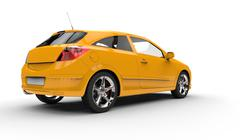 Yellow Family Car - Back Side View - stock illustration