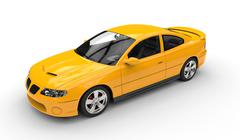 Yellow Sports Car - Top Side View - stock illustration