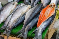 Fish market, fresh fish in street market - stock photo