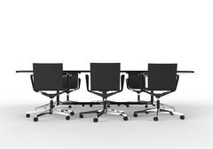 Black Business Meeting Table with Chairs Stock Illustration
