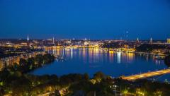 Central Stockholm showing Västerbron (The west bridge)  and Riddarfjärden Stock Footage
