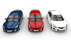 Three Cars Top - Front View - stock illustration