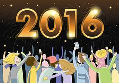 People celebrating New Years Eve 2016 - stock illustration