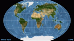 Animated world map in the Winkel Tripel projection. Blue Marble raster. Stock Footage