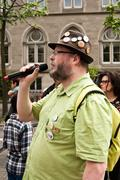 People speaking  against Monsanto Stock Photos